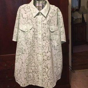 Alfred Dunner mint green blouse, 24W, short sleeve